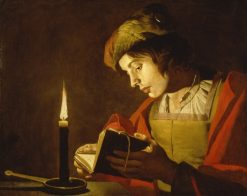 A Young Man Reading by Candlelight | Matthias Stomer | Oil Painting