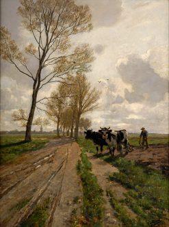 Spring landscape with oxen | Paul Eduard Crodel | Oil Painting