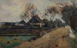 North German Landscape with Farmhouses | Paul Eduard Crodel | Oil Painting