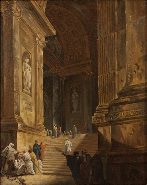 A Temple Staircase   Johan Gottlob Brusell   Oil Painting