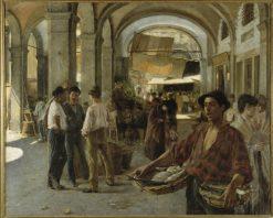 A Venetian Covered Market | Oscar Gustaf Bjorck | Oil Painting