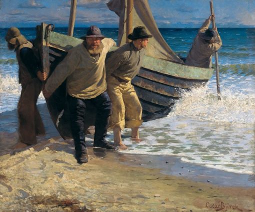 Launching the Boat. Skagen | Oscar Gustaf Bjorck | Oil Painting