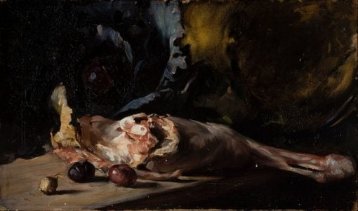 Still life with a leg of lamb and cabbage | Oscar Gustaf Bjorck | Oil Painting