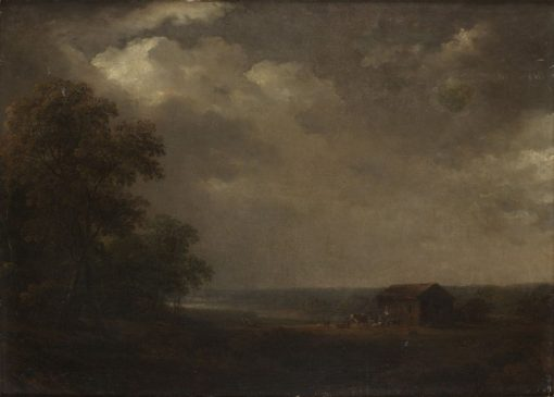 Landscape with houses and livestock   Carl Johan Fahlcrantz   Oil Painting