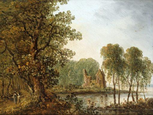 Romantic Landscape with Ruins   Carl Johan Fahlcrantz   Oil Painting