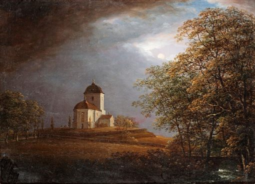 View of Andrarums Church   Carl Johan Fahlcrantz   Oil Painting