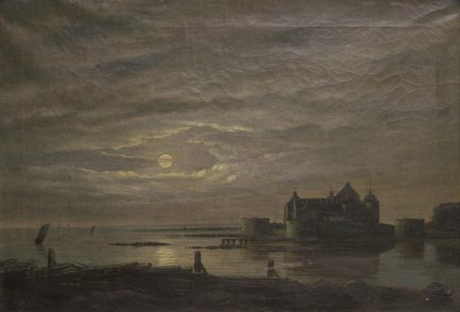 Landscape with a Castle in the Moonlight | Carl Johan Fahlcrantz | Oil Painting