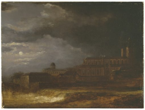 View of Uppsala. Landscape by Moonlight | Carl Johan Fahlcrantz | Oil Painting