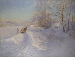 A Winter Morning after a Snowfall in Dalarna | Anshelm Schultzberg | Oil Painting