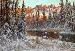 December Evening on a Forest Lake | Anshelm Schultzberg | Oil Painting