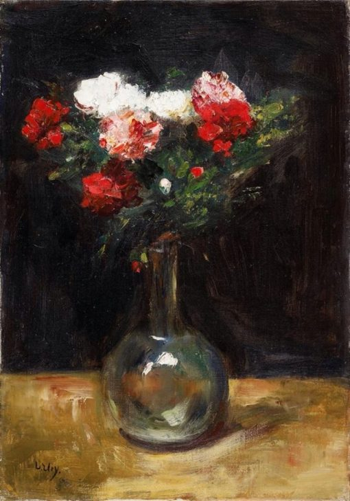 Carnations in Glass Vase | Lesser Ury | Oil Painting