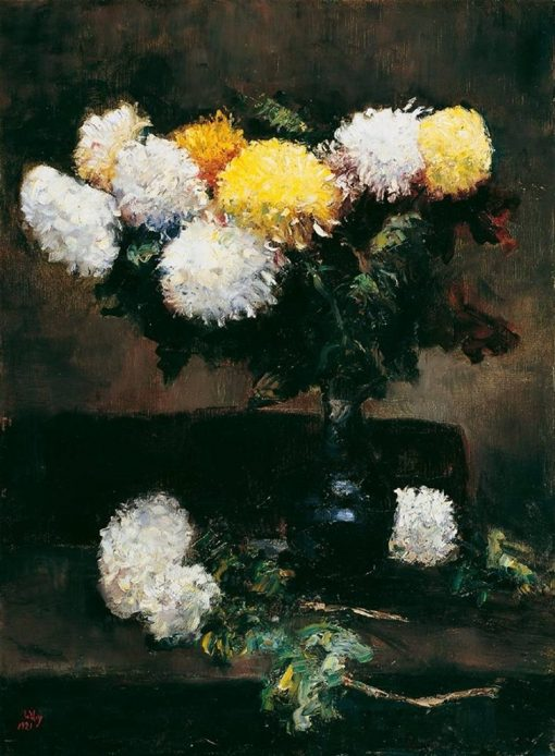 White and Yellow Chrysanthemums in a Blue Vase | Lesser Ury | Oil Painting