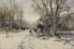 A Horse and a Cart in a Snow-covered Landscape | Louis Apol | Oil Painting