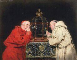 Cardinal and friar observing birds in a cage | Antonio Casanova y Estorach | Oil Painting