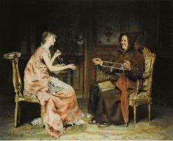 Young Girl with a Monk | Antonio Casanova y Estorach | Oil Painting