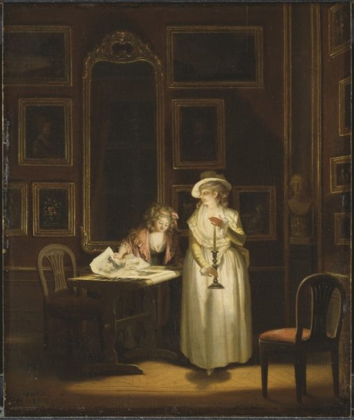 Two women inspecting a picture by candle-light | Pehr Hilleström | Oil Painting