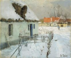 Cottages in the Snow | Fritz Thaulow | Oil Painting
