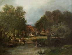 The Washerwomen   Carl Breitbach   Oil Painting