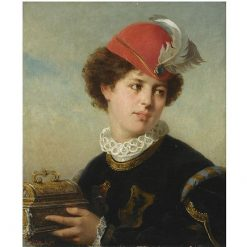 A young nobleman holding a small chest | Carl Breitbach | Oil Painting