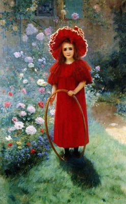 Little girl in red | Andre Brouillet | Oil Painting