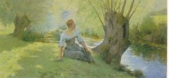 Pretty Maid by the Stream | Andre Brouillet | Oil Painting