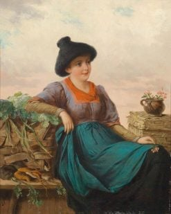 Portrait of a Tyrolese Vegetable Seller   Josef Buche   Oil Painting