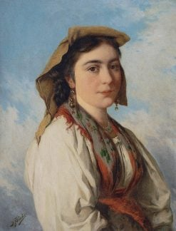 Portrait of a Young Italian Woman   Josef Buche   Oil Painting
