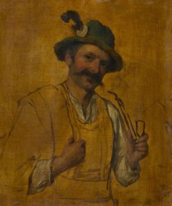 Tyrolean Man Smoking   Josef Buche   Oil Painting