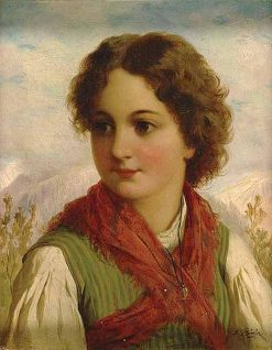 Portrait of a Girl   Josef Buche   Oil Painting