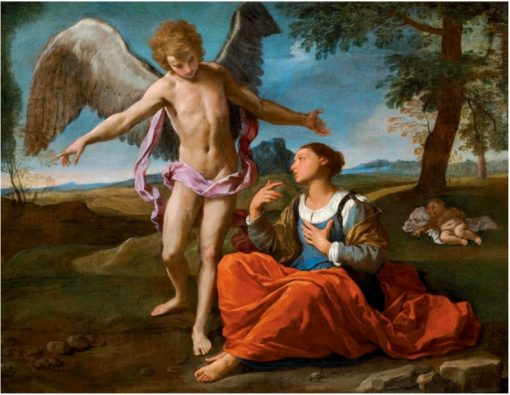 Archangel Michael with Hagar and Ishmael in the Desert | Simone Cantarini | Oil Painting