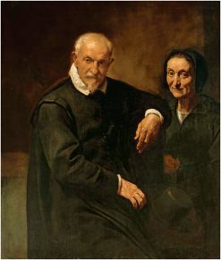 Portrait of a seated gentleman and a lady holding a rosary | Simone Cantarini | Oil Painting