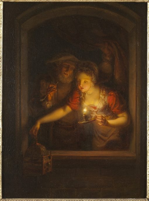 A Woman with a Burning Candle   Alexander Laureus   Oil Painting