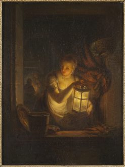A Woman with A Lantern | Alexander Laureus | Oil Painting