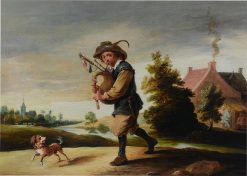 A boor playing a bagpipe in a landscape | Abraham Teniers | Oil Painting