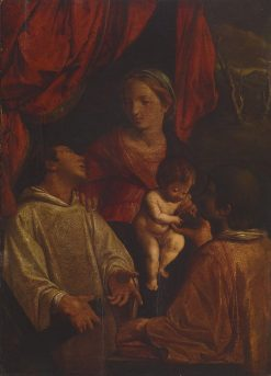 Madonna and Child with St Lawrence and St Stephen | Angelo Caroselli | Oil Painting