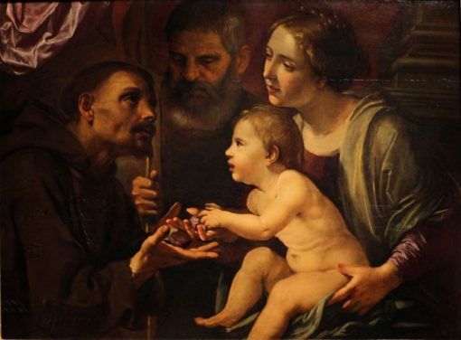 The Holy Family with St. Francis from Assisi | Angelo Caroselli | Oil Painting
