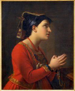 Young Italian Woman Praying   Moritz Calisch   Oil Painting