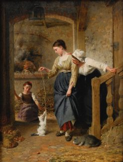 Playing with Kittens | Edouard Castres | Oil Painting