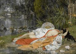 Geisha reclining in the garden | Edouard Castres | Oil Painting