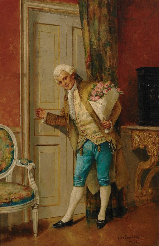 Young cavalier with bouquet of roses at the door | Victoriano Codina y Langlin | Oil Painting