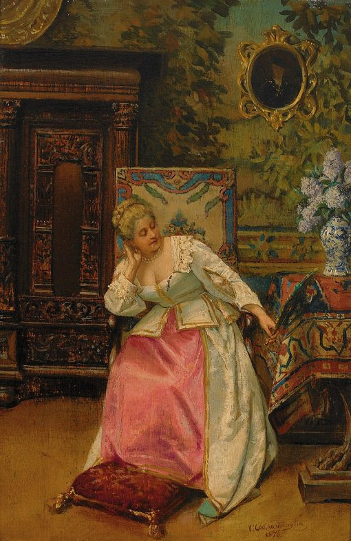 Lady with a Mirror | Victoriano Codina y Langlin | Oil Painting