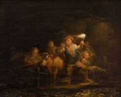 A Ferry with Passengers and Cattle | Alexander Laureus | Oil Painting