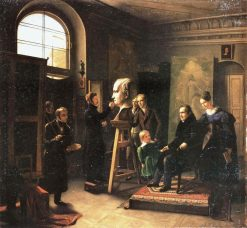 Ludwig Tieck sitting to the Portrait Sculptor David dAngers | Carl Christian Vogel von Vogelstein | Oil Painting