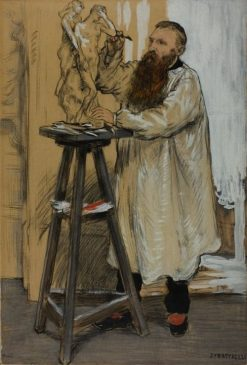 Portrait of the Sculptor Auguste Rodin in his Studio | Jean-Francois Raffaëlli | Oil Painting