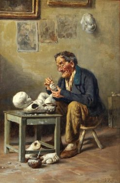 Lavorazione dei putti   Vincenzo Volpe   Oil Painting