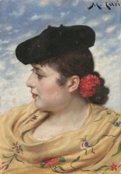 Girl with Hat | Manuel Cusi y Ferret | Oil Painting