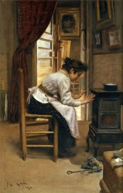 Beside the Fire | Manuel Cusi y Ferret | Oil Painting
