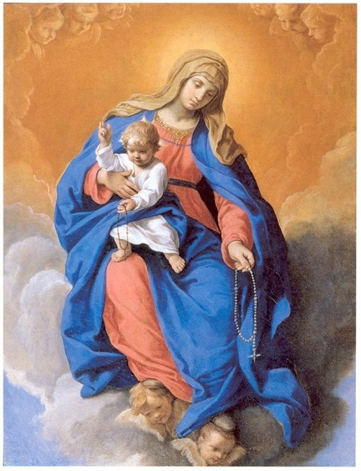 Our Lady of the Rosary with Child | Simone Cantarini | Oil Painting