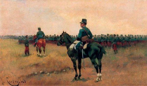 Cavalry Maneuvers   Josep Cusachs   Oil Painting