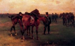 Artillery Captain Holding Horses | Josep Cusachs | Oil Painting